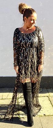 Kimono m. palietter - sort m. guld