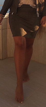 Army grøn nederdel med lynlås