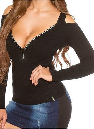 Off shoulder bluse med zip - sort