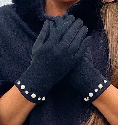 Sorte handsker med perler
