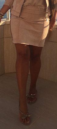 Suede nederdel m. lynlås - beige