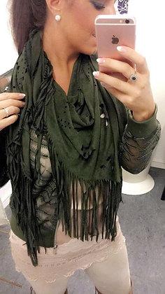 Tørklæde med frynser - armygrøn