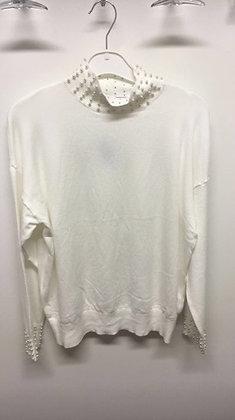 Bluse med krave og perler  -hvid