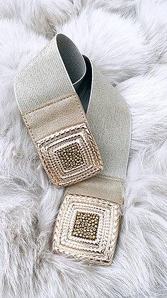 Elastik bælte med spænde og glimmer - guld/beige