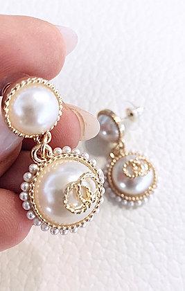 Divaz øreringe - guld dobbelt m. Perle