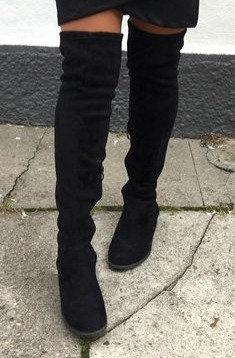 Gabi Overknee støvle m. ruskindslook - sort