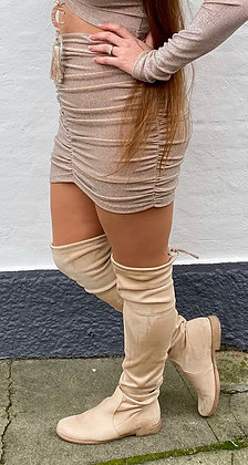Glitter shiny nederdel beige