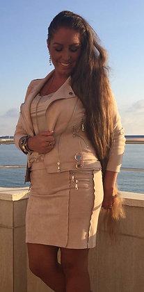 Suede jakke med to lynlås i siden - beige