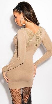 Smuk kjole/bluse med butterfly - beige