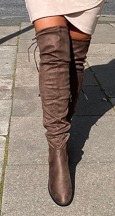 Overknee i taupe/brun
