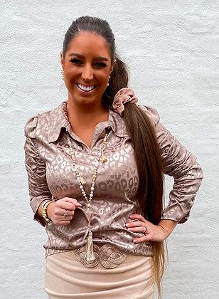 Silkelook leo skjorte/bluse - beige