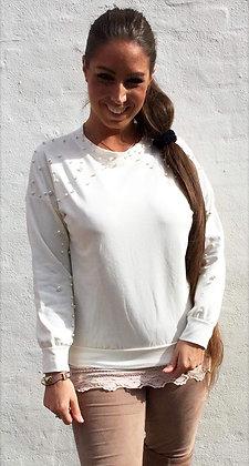 Bluse med perler - kort - hvid