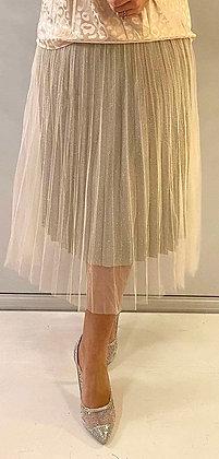 Tyl nederdel med glimmer - beige