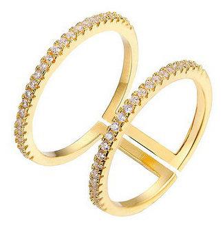 Aura - Dobbelt ring med sten - guld