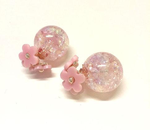 Blomster øreringe i rosa