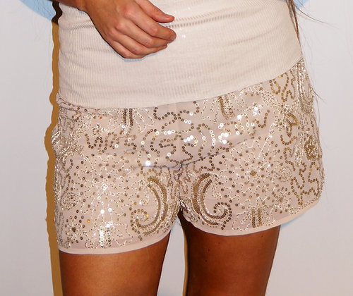 Mandy paliet shorts - beige