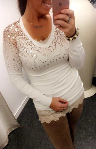324efe37c4e7 Lækker bluse kjole med guld glitter - Hvid