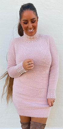 Kjole med krave og perler - rosa