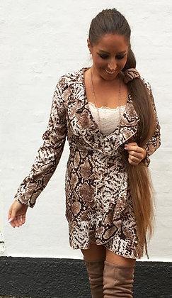 Snakeprint wrap kjole