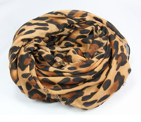Leopard tørklæde i sort/brun/lysbrun