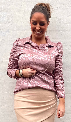 Silkelook leo skjorte/bluse - rosa