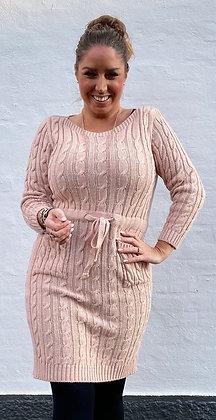 Cable strik kjole - rosa