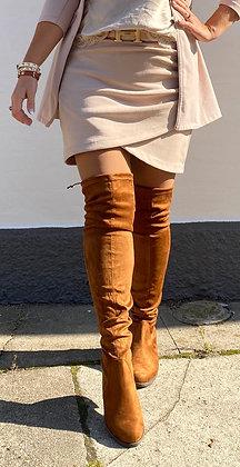 Suede nederdel - pudderfarvet