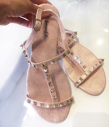 Sandal m. nitter i shiny rosa