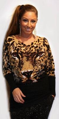 Bluse med leopard og sort sten - sort