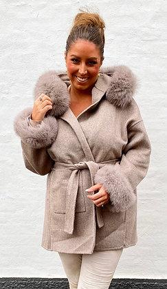 Divaz jakke med hætte og pels - taupe
