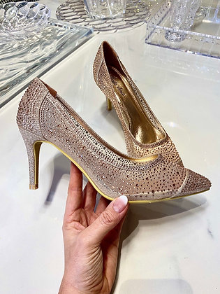Diamond stiletter rosegold - hæl højde 6,5 cm