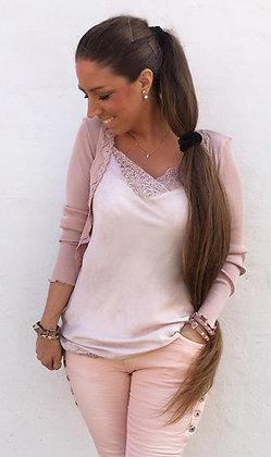 Blonde top i rosa - lang
