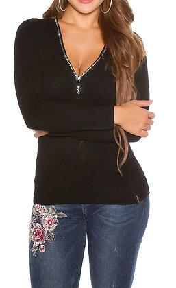 Bluse med zip og sten - sort