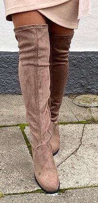 Gabi Overknee støvle m. ruskindslook -taupe
