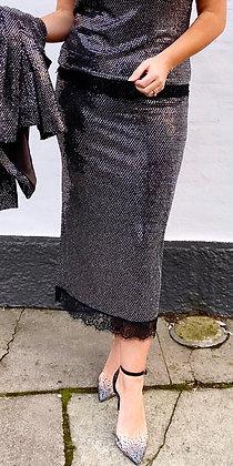 Divaz paliet nederdel i sort med sølv glitter