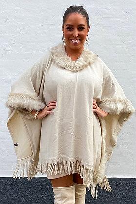 Poncho asymmetrisk - beige