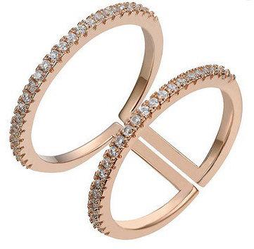 Aura - Dobbelt ring med sten - Rosegold