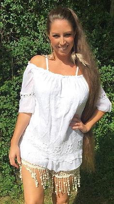 Tunika m. blonde - hvid