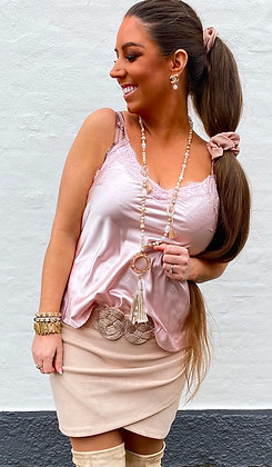 Silky top med blonde - rosa