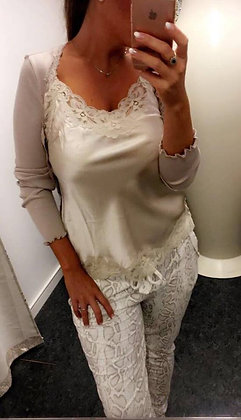 Bukser med snakeprint - beige