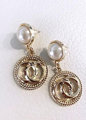 Divaz øreringe - guld og perlelook
