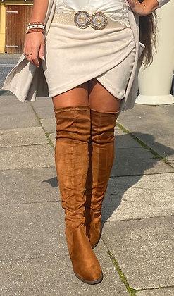 Suede nederdel -  beige