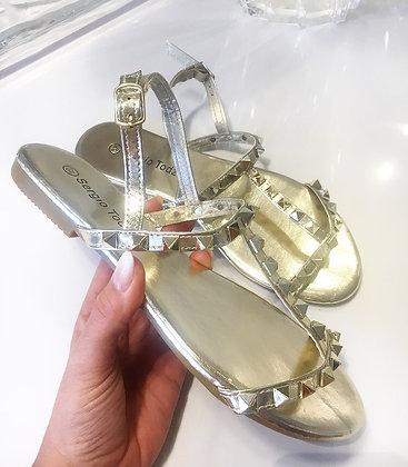 Sandal m. nitter i guld