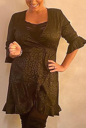 Kjole i Silke og leopard look - sort