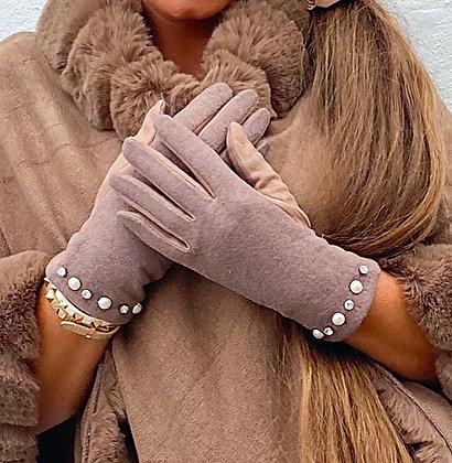 Taupe handsker med perler