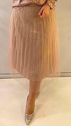 Tyl nederdel med glimmer effekt - rosa