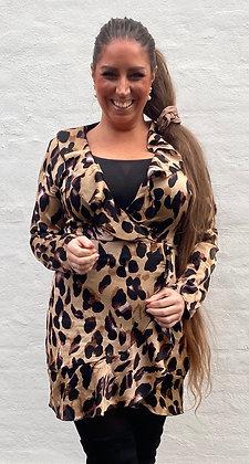 Wrap leopard kjole