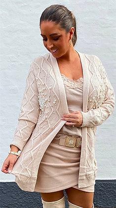 Cardigan i strik med perler - beige