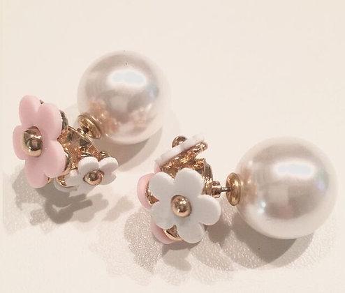"""""""Marc Jacobs"""" blomster øreringe - Hvid m. rosa"""