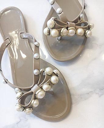 Flipflops med perler - beige